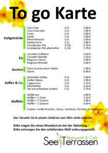 ToGo Karte Kaffee und Kuchen See Terrassen am NORDufer Schieder See